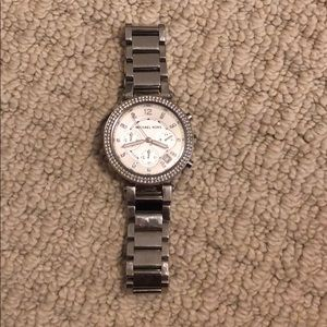 Silver Micheal Kors Watch with double row crystals